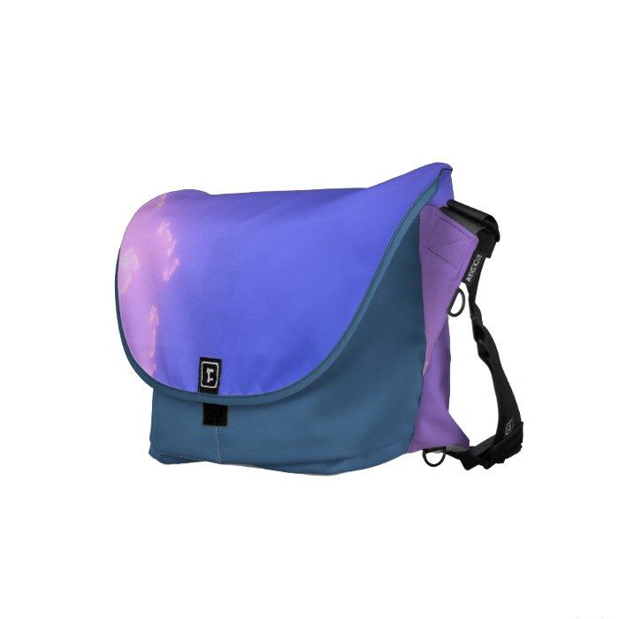 Pink and blue cloudy fractal messenger bag