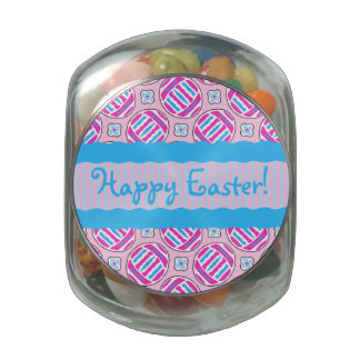 Pink and Blue Colorful Easter Eggs and Flowers Jelly Belly Candy Jar