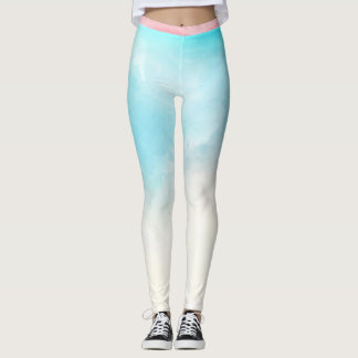 Pink and Blue Cotton Candy Fitness Leggings