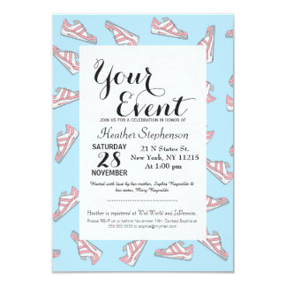 Pink and Blue Cute Sneakers Pattern Card