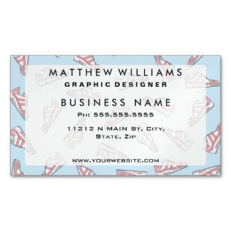 Pink and Blue Cute Sneakers Pattern Magnetic Business Card