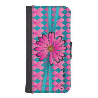 Pink and Blue Daisy Diamond Phone Wallet Cases