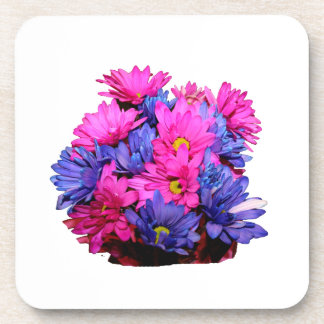 Pink and Blue Daisy Flower Bouquet Image Drink Coaster