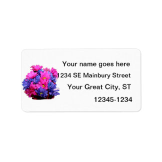 Pink and Blue Daisy Flower Bouquet Image Address Label