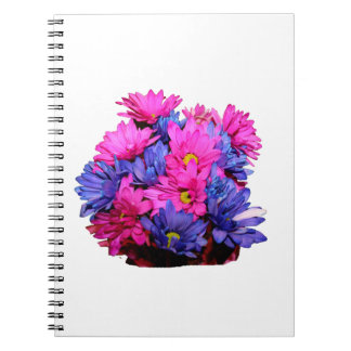 Pink and Blue Daisy Flower Bouquet Image Spiral Note Book