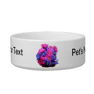 Pink and Blue Daisy Flower Bouquet Image Cat Food Bowls