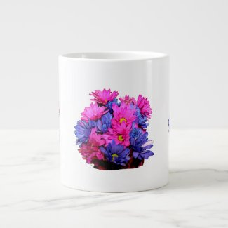 Pink and Blue Daisy Flower Bouquet Image specialtymug