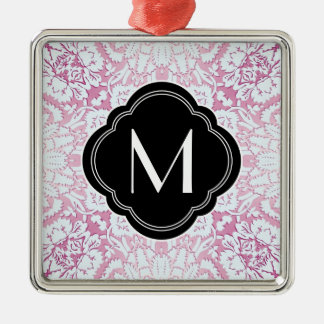 Pink and Blue Damask Design with Monogram Metal Ornament
