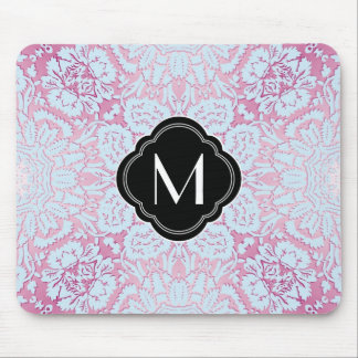 Pink and Blue Damask Design with Monogram Mouse Pad