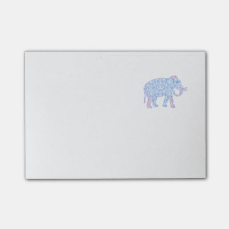 Pink and Blue Damask Elephant Post-it® Notes