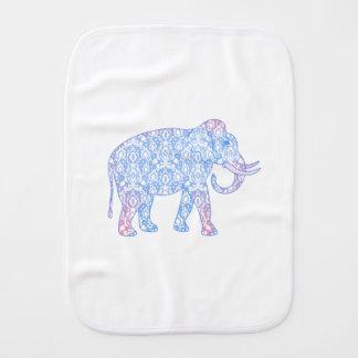 Pink and Blue Damask Elephant Burp Cloth