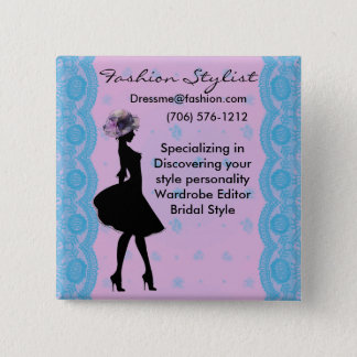 Pink and Blue Damask Fashion Stylist Button