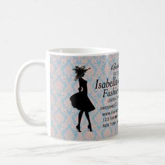 Pink and Blue Damask Fashion Stylist Coffee Mug
