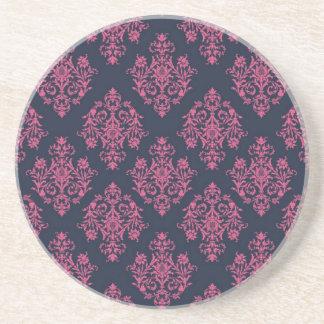 Pink and Blue Damask Patterned Coaster