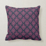 Pink and Blue Damask Patterned Throw Pillows