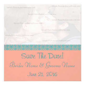 Pink and Blue Damask Save The Date Custom Invitations