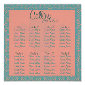 Pink and Blue Damask Seating Chart Poster