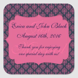 Pink and Blue Damask Wedding Favor Thank You Square Stickers