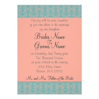 Pink and Blue Damask Wedding or Party Invitations