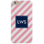 Pink and Blue Diagonal Stripes Monogram Barely There iPhone 6 Plus Case