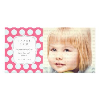 Pink and Blue Dots - Any Occasion Thank you Card