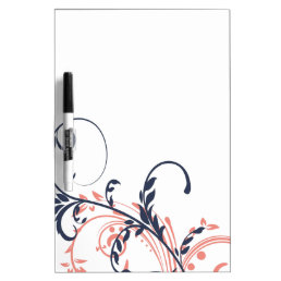 Pink and Blue Double Floral Dry Erase Board