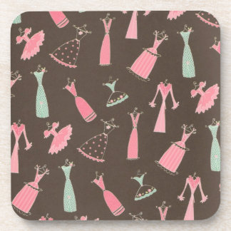 Pink and Blue Dress-up Dresses Cork Coasters