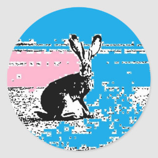Pink and Blue Easter Hare Classic Round Sticker