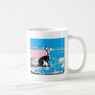 Pink and Blue Easter Hare Coffee Mug