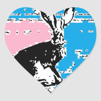 Pink and Blue Easter Hare Heart Sticker
