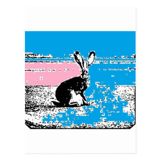 Pink and Blue Easter Hare Postcard