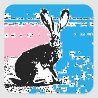 Pink and Blue Easter Hare Square Sticker