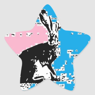 Pink and Blue Easter Hare Star Sticker