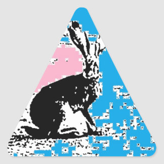 Pink and Blue Easter Hare Triangle Sticker