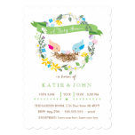 Pink and Blue Eggs | Girl and Boy Twin Shower 5x7 Paper Invitation Card