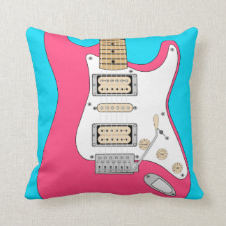 Pink And Blue Electric Guitar Throw Pillow
