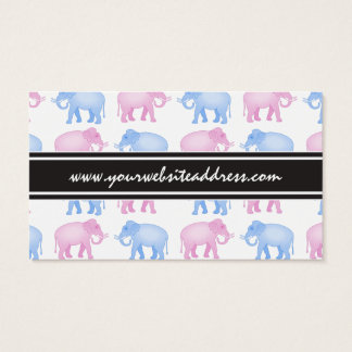 Pink and Blue Elephant Baby Shower Business Card