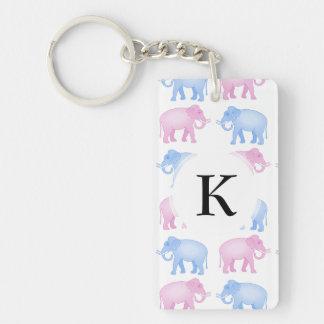 Pink and Blue Elephant Baby Shower Double-Sided Rectangular Acrylic Keychain
