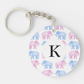 Pink and Blue Elephant Baby Shower Double-Sided Round Acrylic Keychain