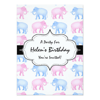 """Pink and Blue Elephant Baby Shower 5.5"""" X 7.5"""" Invitation Card"""