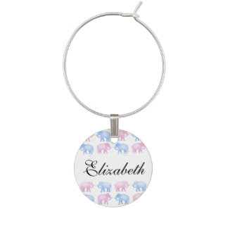 Pink and Blue Elephant Baby Shower Wine Glass Charm
