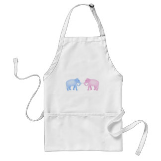Pink and Blue Elephants Birthday or Gender Reveal Adult Apron