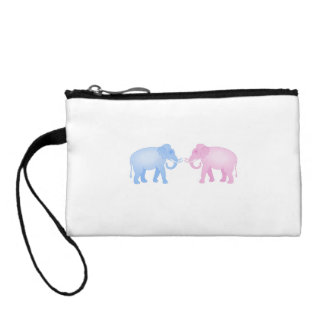 Pink and Blue Elephants Birthday or Gender Reveal Coin Wallet