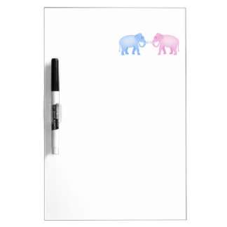 Pink and Blue Elephants Birthday or Gender Reveal Dry-Erase Board