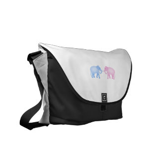 Pink and Blue Elephants Birthday or Gender Reveal Messenger Bag