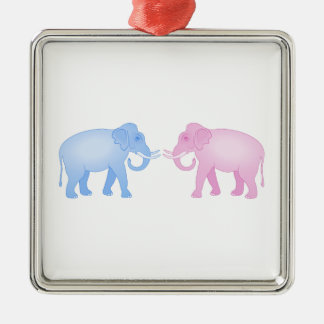 Pink and Blue Elephants Birthday or Gender Reveal Metal Ornament