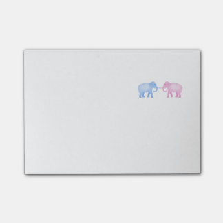 Pink and Blue Elephants Birthday or Gender Reveal Post-it Notes