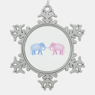 Pink and Blue Elephants Birthday or Gender Reveal Snowflake Pewter Christmas Ornament