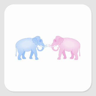 Pink and Blue Elephants Birthday or Gender Reveal Square Sticker