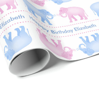 Pink and Blue Elephants Birthday or Gender Reveal Wrapping Paper